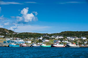 Little fishing boats in Marguerite Bay in St. Anthony, Newfoundlandの写真素材 [FYI03781466]