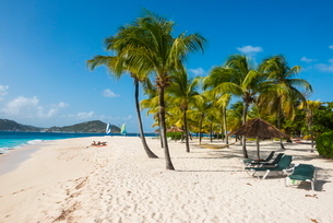 Palm fringed white sand beach on Palm Island with Union Island in the background, the Grenadines, Stの写真素材 [FYI03781874]