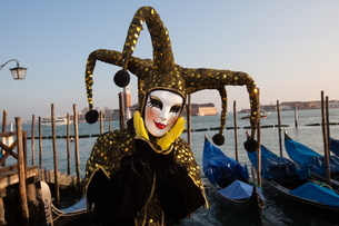 Carnival masks and costumes during Venice Carnival, St. Mark's Square, Venice, Venetoの写真素材 [FYI03782056]