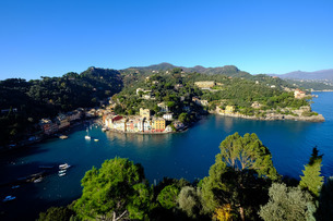 The bay of Portofino seen from Castello Brown, Genova (Genoa), Liguriaの写真素材 [FYI03782095]