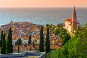 Old Town view with Church of St. George (Cerkev sv. Jurija), Piran, Primorska, Slovenian Istria, Sloの写真素材 [FYI03782247]