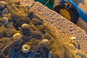 Fishing nets and fishing boat, Old Town Harbour, Piran, Primorska, Sloveniaの写真素材 [FYI03782257]