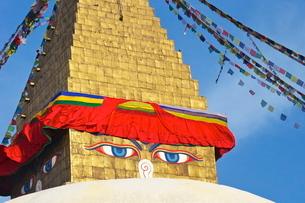 All seeing eyes of the Buddha, Boudhanath Stupa, Kathmandu, Nepalの写真素材 [FYI03782359]