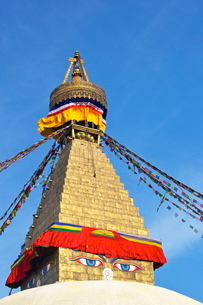 All seeing eyes of the Buddha, Boudhanath Stupa, Kathmandu, Nepalの写真素材 [FYI03782363]