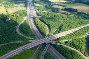 Aerial photo of M23 flyover M25, near Redhill, Surreyの写真素材 [FYI03782374]
