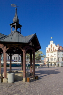 City Hall and well, Market Square, Old Town, Rzeszow, Polandの写真素材 [FYI03782518]