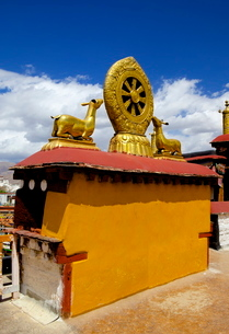 Golden Wheel of Dharma and deer sculptures on the sacred Jokhang Temple roof, Barkhor Square, Lhasa,の写真素材 [FYI03783049]