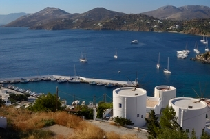 Old windmills, restored as holiday accommodation above Panteli harbour, Leros, Dodecanese Islands, Gの写真素材 [FYI03783223]