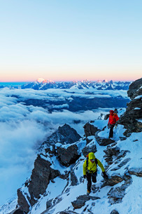 Sunrise view to Mont Blanc in France from Grand Combin, Valais, Swiss Alps, Switzerland, Europeの写真素材 [FYI03783329]