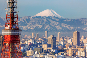 Elevated view of the city skyline and iconic Tokyo Tower, Tokyo, Japan, Asiaの写真素材 [FYI03783427]