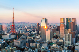 Elevated evening view of the city skyline and iconic Tokyo Tower, Tokyo, Japan, Asiaの写真素材 [FYI03783437]
