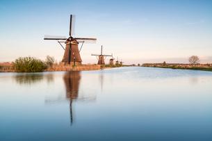 Windmills in a row on the canal, Kinderdijk, UNESCO World Heritage Site, Molenwaard municipality, Soの写真素材 [FYI03783610]