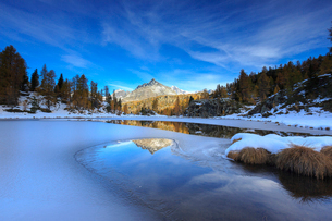 Rocky peaks and larches reflected in the frozen Lake Mufule, Malenco Valley, Province of Sondrio, Vaの写真素材 [FYI03784034]