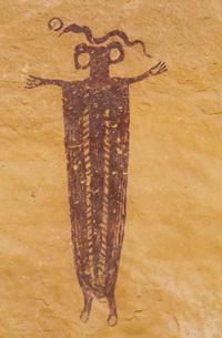 Skeleton Shaman, Head of Sinbad Pictograph Panel, San Rafael Swell, Utah, United States of America,の写真素材 [FYI03784143]