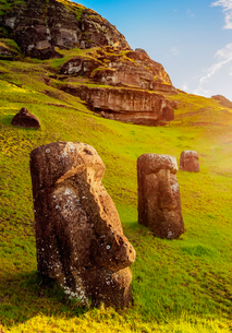 Moais at the quarry on the slope of the Rano Raraku Volcano, Rapa Nui National Park, UNESCO World Heの写真素材 [FYI03784254]