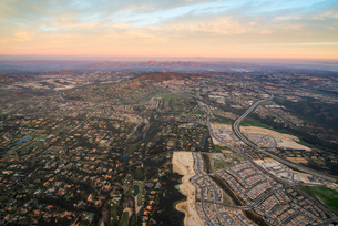 Aerial over Encinitas from a hot air balloon, California, United States of America, North Americaの写真素材 [FYI03784263]