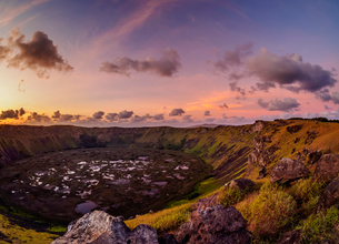 Crater of Rano Kau Volcano at sunset, Easter Island, Chile, South Americaの写真素材 [FYI03784281]