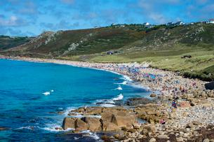 Overlook over Sennen Cove, Cornwall, England, United Kingdom, Europeの写真素材 [FYI03784428]
