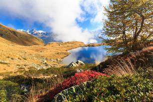 Clouds on peaks of Bernina Group reflected in Lake Arcoglio, Val Torreggio, Malenco Valley, Valtelliの写真素材 [FYI03784447]