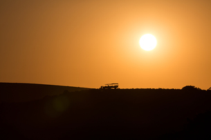 Sundowners at sunset over a South African Game Reserve, Eastern Cape, South Africa, Africaの写真素材 [FYI03784547]