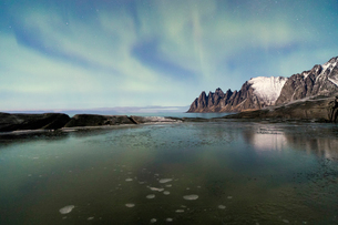 The Northern Lights (aurora borealis) and stars reflected in the icy sea, Tungeneset, Senja, Tromo,の写真素材 [FYI03784830]