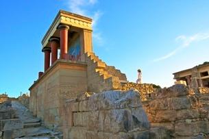 The Minoan Palace of Knossos, Knossos, Heraklion, Crete, Greek Islands, Greece, Europeの写真素材 [FYI03785249]