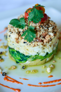 Bacalhau, a Portuguese cod dish served in a contemporary style, Portugal, Europeの写真素材 [FYI03785377]