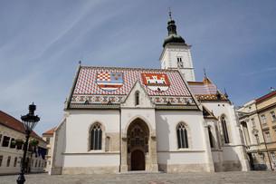 St. Mark's church on the Market Square, Government Quarter, Upper Town, Zagreb, Croatia, Europeの写真素材 [FYI03785846]