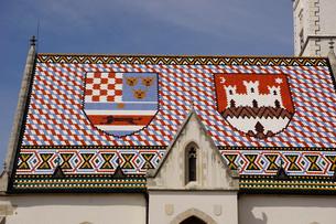 St. Mark's church on the Market Square, Government Quarter, Upper Town, Zagreb, Croatia, Europeの写真素材 [FYI03785848]