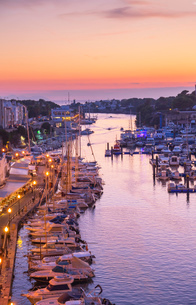 Historic old harbor, Ciutadella, Menorca, Balearic Islands, Spain, Mediterranean, Europeの写真素材 [FYI03785883]