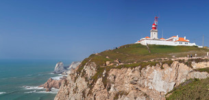 Lighthouse, Cabo da Roca, the westernmost point of Europe, Atlantic Ocean, Estremadura, Portugal, Euの写真素材 [FYI03786218]