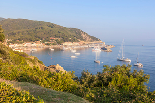 Sailboats in the old harbor, Marciana Marina, Elba Island, Livorno Province, Tuscany, Italy, Europeの写真素材 [FYI03786344]