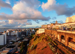 Old Town at sunset, Salvador, State of Bahia, Brazil, South Americaの写真素材 [FYI03786557]