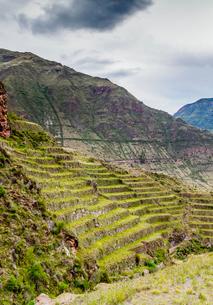 Inca Terraces, Pisac, Sacred Valley, Cusco Region, Peru, South Americaの写真素材 [FYI03786600]