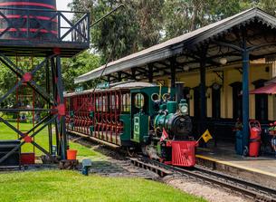 Train Station in Parque de la Amistad (Friendship Park), Santiago de Surco District, Lima, Peru, Souの写真素材 [FYI03786608]
