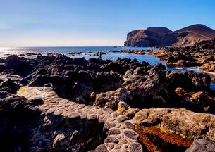 Coast of Cais towards the Ponta dos Capelinhos, Faial Island, Azores, Portugal, Atlantic, Europeの写真素材 [FYI03786657]