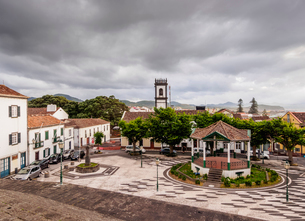 Main Square, elevated view, Ribeira Grande, Sao Miguel Island, Azores, Portugal, Atlantic, Europeの写真素材 [FYI03786715]