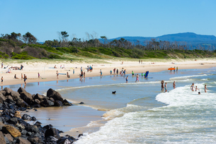 Byron Bay Main beach, New South Wales, Australia, Pacificの写真素材 [FYI03786866]