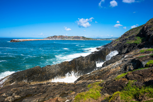 Sea views off of Muttonbird Island, Coffs Harbour, New South Wales, Australia, Pacificの写真素材 [FYI03786871]