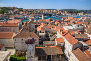 View from the bell tower, Cathedral of St. Lawrence, Trogir Old Town, UNESCO World Heritage Site, Crの写真素材 [FYI03787073]