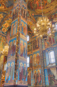 Wall frescos, Church on Spilled Blood (Resurrection Church of Our Saviour), UNESCO World Heritage Siの写真素材 [FYI03787150]