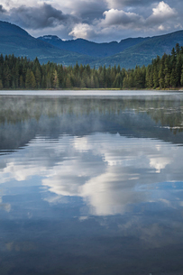 Mist on Lost Lake, Ski Hill and surrounding forest, Whistler, British Columbia, Canada, North Americの写真素材 [FYI03787268]
