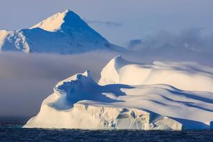 Huge non-tabular iceberg, mountains, evening light and mist, Bransfield Strait, South Shetland Islanの写真素材 [FYI03787468]