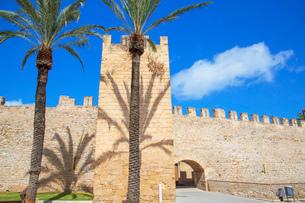 The medieval walls of Alcudia, Alcudia, Mallorca (Majorca), Balearic Islands, Spain, Europeの写真素材 [FYI03787502]