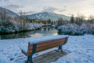 Snow covered bench at Meadow Park with views of the River of Golden Dreams and Whistler Mountain inの写真素材 [FYI03787978]