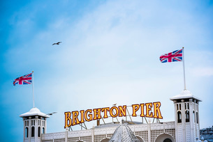 Brighton Palace Pier, Brighton and Hove, East Sussex, England, United Kingdom, Europeの写真素材 [FYI03788014]
