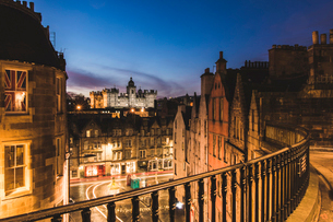 George Heriot's School at twillight, Edinburgh, Scotland, United Kingdom, Europeの写真素材 [FYI03788065]