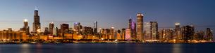 Panoramic of Chicago Skyline at sunset, Chicago, Illinois, United States of America, North Americaの写真素材 [FYI03788078]