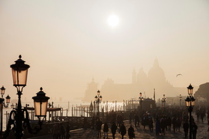 Basilica of Santa Maria della Salute in the mist from St. Marks Square, Venice, UNESCO World Heritagの写真素材 [FYI03788377]