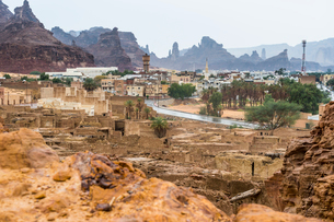 The old ghost town of Al Ula, Saudi Arabia, Middle Eastの写真素材 [FYI03788411]